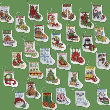 "More Tiny Stockings Ornaments Counted Cross Stitch Kit-2.5""X3"" 14 Count Set Of 30"