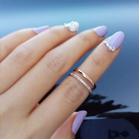 Double line Knuckle(midi) Ring - RING