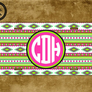 Monogrammed tribal license plate - Aztec pattern in lime green and hot pink - Monogram aztec car tag (9949)