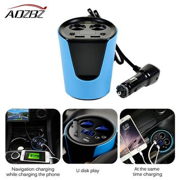 AOZBZ USB 3.1A Car Charger Adapter with 2 Cigarette Lighter Socket Dual Cup Holder Type Smart Fast Charge Volmeter Current SAST