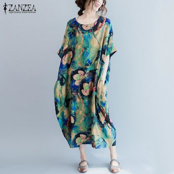 Oversized 2017 Autumn ZANZEA Women Vintage Casual Loose Print Dress O Neck Batwing Half Leeve Baggy Mid-calf Dresses Vestidos