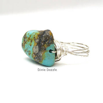 Turquoise ring, rough cut turquoise wire wrapped ring, real turquoise, boho style ring, silver ring, semiprecious gemstone ring,