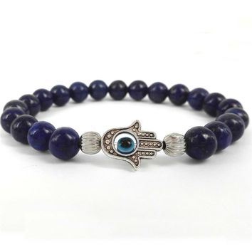 2017 New Products Christmas Gift 8mm Lapis Lazuli Stone Beads Fatima Hand Hamsa Protection Bracelets for Men and Women Jewelry