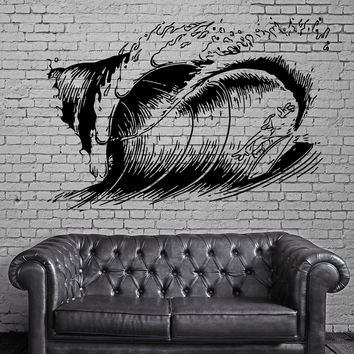 Big Ocean Wave Surfing Fun Water Sports Surfer Wall Mural Vinyl Art Sticker Unique Gift M601