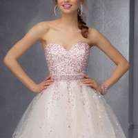 2014 Mori Lee Sticks & Stones Beaded Bodice Homecoming Dress 9286