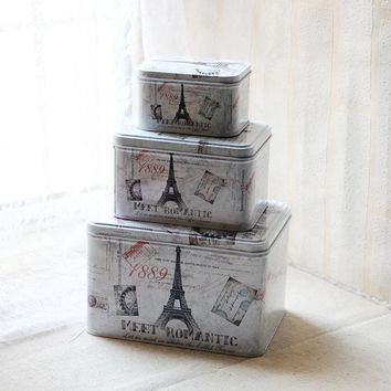 ESBU3C 3pcs/lot Iron Tin Box Eiffel Tower in France for Fashion zakka trinket storage & home decoration food cookie makeup storage box