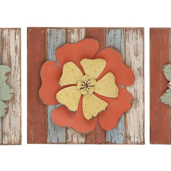 Benzara Antique Styled Floral Wood Metal Wall decor 3 Assorted