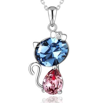 "5 Diiferent Color "" LUCK CAT "" Crystal Necklace PLATO H 925 Sterling Silver Pretty Cat Pendant Necklace Cat Kitty Crystal Necklace Womans Fashion Jewelry Beat Romantic Gift For Her, 18"""