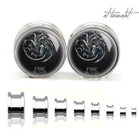 Game of Thrones fire and blood Growing strong steel ear gauge, silvery tunnel plugs,Stainless Steel Screw Ear Gauges,guage earrings,