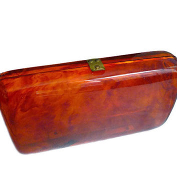 Lucite Clutch, Vintage Handbag, Tortoise Brown, Early Plastic, Translucent, Box Purse, Fashion Accessories