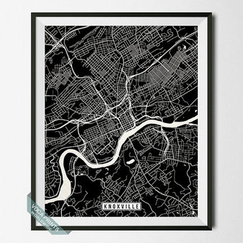 Knoxville Print, Tennessee Poster, Knoxville Poster, Knoxville Map, Tennessee Print, Tennessee Map, Street Map, Wall Art