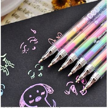 ICIK272 1 PC New Kawaii Cute Highlighter Marker Stationary 6 Color Pen Students Ballpen For Children School Writing Supply Drop Shipping