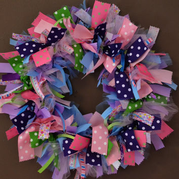 Ribbon Wreath / Spring Wreath / Baby Shower Wreath / Girls Bedroom Wreath