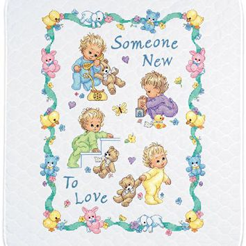 "Someone New Dimensions/Baby Hugs Quilt Stamped Cross Stitch Kit 34""X43"""