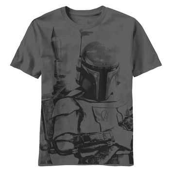 Star Wars Sarlacc Bait Boba Fett Licensed Adult T-Shirt - Charcoal / Army