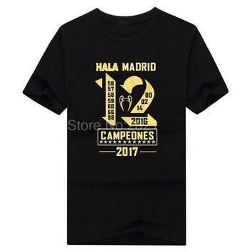 CREYLD1 2018 real campeones Winners 12 la Duodecimo cotton Short Sleeve champions T-Shirt Man casual for hala madrid ronaldo fans gift