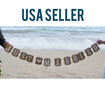 "Vintage style ""Just married"" kraft paper banner wedding photo prop decor"