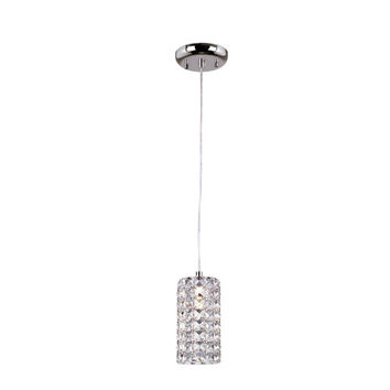 Trans Globe Lighting MDN-1130 Polished Chrome Cube Drop Crystal Pendant with Clear Crystal Insets