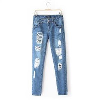 Summer Ripped Holes Fashion Pants Jeans [6514268743]