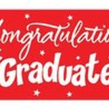 graduation greeting giant banner - red Case of 12