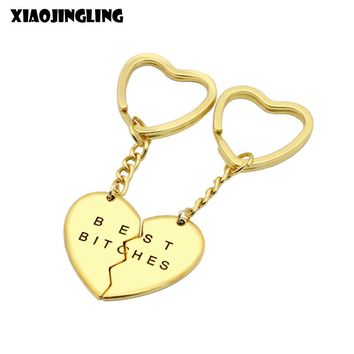 XIAOJINGLING 1 Pair Keychain Heart Pendant Pieces Broken Two Best Bitches Friendship Forever Women Keychain Jewelry Llavero Gold