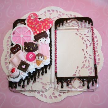 Kawaii Strawberry and Chocolate Kitty iphone 4 Decoden Phone Case