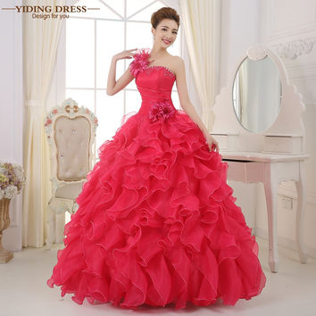 Romantic 2017 Colorful Organza A line Beading Ruched One Shoulder Wedding Dress Bride Beautiful Party Vestidos De Novia