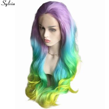 Women Pastel Purple Blue Green Yellow Rainbow Wig