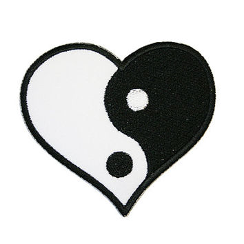 Yin Yang Heart Iron On Patch Embroidery Sewing DIY Customise Denim Cotton