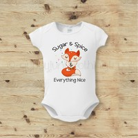 Sugar and Spice Fox Baby Outfit - Boho Fox Baby Outfit - Cute Fox Baby Top