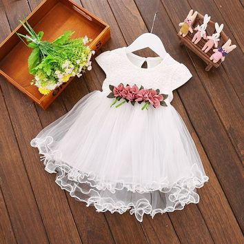 Fashion Lace Dress Baby Girl Floral Dresses Princess Party Dress Toddler Infant Elegant Clothes Wedding For Flower Girls Dresses