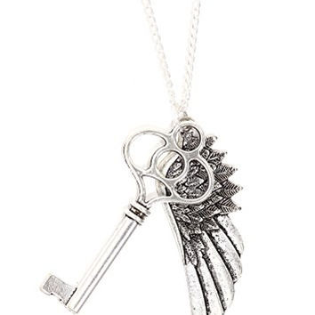Angel Wing Skeleton Key Necklace Antique Silver Tone Pendant NQ54 Fashion Jewelry