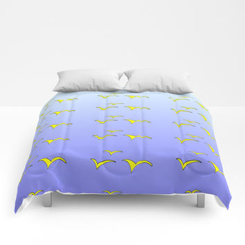 Birds in the blue sky 1-bird,sky,hope,feathers,jaws,eggs,aves,wing Comforters by oldking