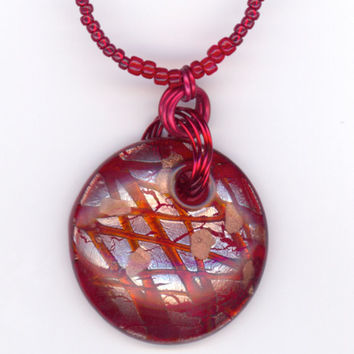 Large Red Pendant with Swarovski Crystals and Bead by Lehane