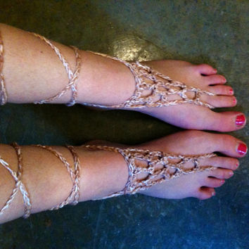 Tan Barefoot Sandals Crochet Barefoot Sandals Hippie Sandals Boho Sandals Festival Sandals Beach Sandals Gypsy Sandals
