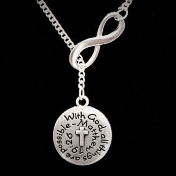 With God All Things Are Possible Matthew 19:26 Scripture Lariat Necklace