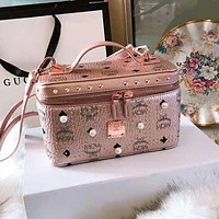 MCM Trending Women Stylish Leather Handbag Shoulder Bag Rivet Crossbody Cosmetic Pink