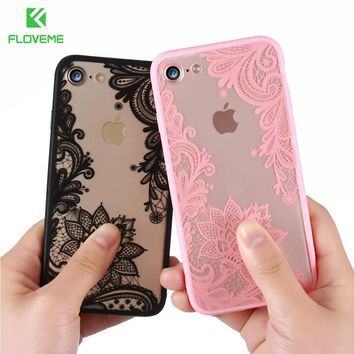 FLOVEME 3D Lace Flower Cover For iPhone 7 8 X iPhone 6 6S Plus Case 5S SE Phone Cases For iPhone 7 8 6 5S 5 X Accessory Coque