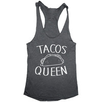 Tacos queen tank top yoga gym fitness work out fashion cute gift ladies lady best friend funny tumblr sport muscle tank