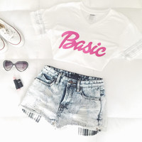 Barbie Inspired V-neck with Iridescent Bands on Sleeves