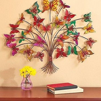 Metal Wall Art Butterfly Tree Sculpture Home Decor Over Sized Colorful Large NEW