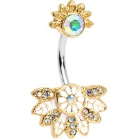 Aurora Gem Tropical Flowering Fan Double Mount Belly Ring