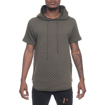 Quilt Pullover Hoodie in Olive
