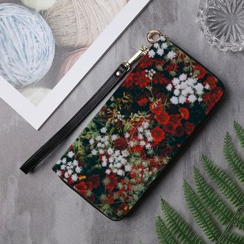 Floral Leather Clutch Wallet