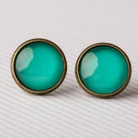 Aqua Green Glass Earrings