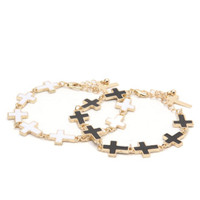 With Love From CA 2 Pack Black White Cross Bracelet at PacSun.com