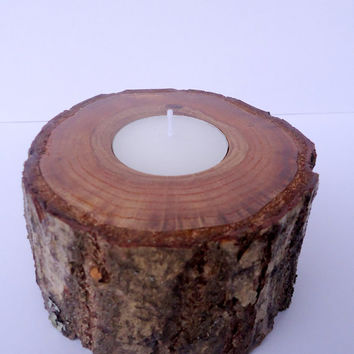 Candlestick Oak bark holder Rustic Wood Candle Holders Wooden Candle Holders Woodland Wedding Rustic tee light candle holder oak holder