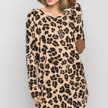 leopard knit elbow patch tunic