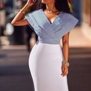 New White-Blue Striped Print Deep V-neck High Waisted Bodycon Homecoming Party Midi Dress