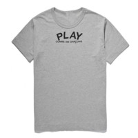 Play New fashion bust letter and back love heart eye print couple top t-shirt Gray